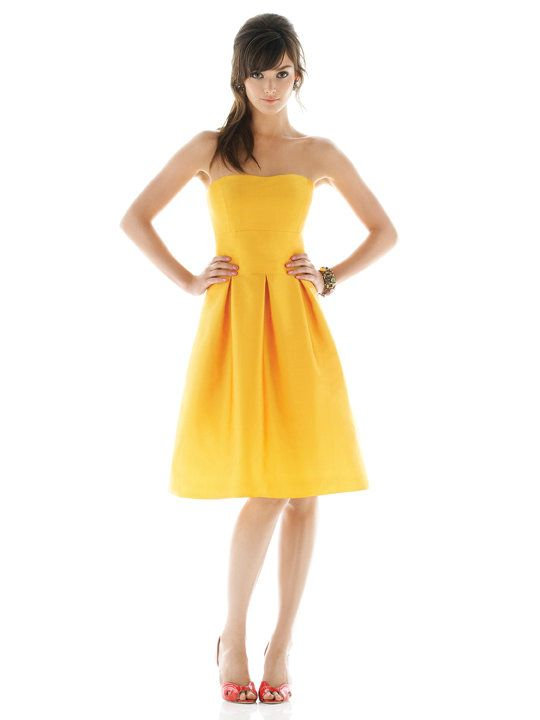 http://ingowns.com/Strapless-Sweetheart-Ruched-Short-Yellow-Bridesmaid-Dresses-pid-1569.html  a line and has a built-in bra.    http://ingowns.com/Strapless-Sweetheart-Ruched-Short-Yellow-Bridesmaid-Dresses-pid-1569.html