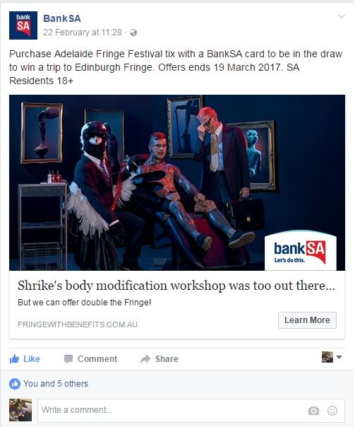 Thanks to BankSA for this sweet sweet offer...  Buy tickets to an Adelaide Fringe show using your BankSA card before the 19th of March 2017 and you could win a trip to the super awesome Edinburgh Festival Fringe!  Tickets on sale now via FringeTIX...  Stand Up Comedy Every Friday Night At The Migration Museum https://www.adelaidefringe.com.au/fringetix?venue=Migration+Museum