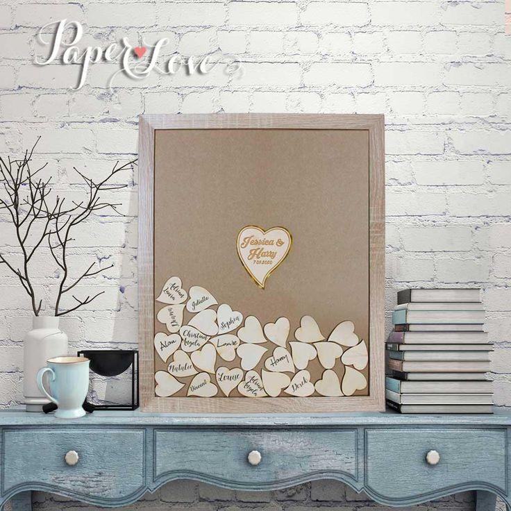 Alternative Wedding Guestbook Laser Cut, Wedding Heart Drop Top Guestbook…