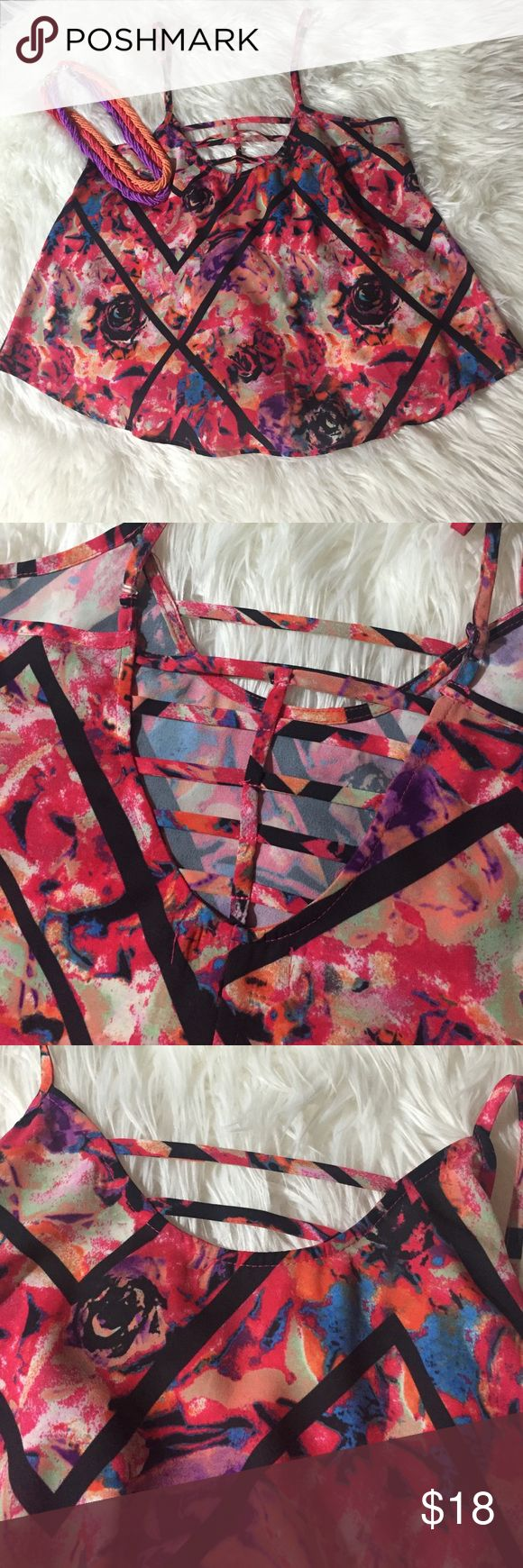 Material Girl Strappy top NWOT Bright and bold multi color crop top with strappy back and front Material Girl Tops Crop Tops