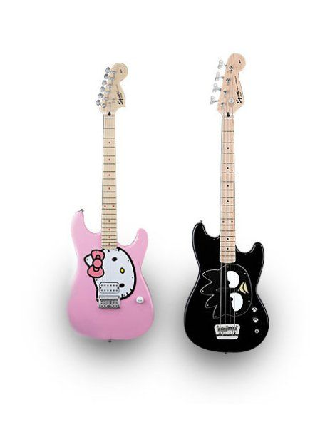 Hello Kitty Fender Stratocaster Guitar, Pink and Badtz-Maru Fender Bronco Bass Guitar, Black