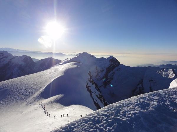 Trekking in Nepal  - Morning ascent of Mera Peak