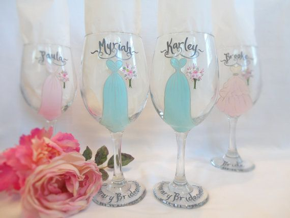 HONORARY BRIDESMAID Hand Painted Bridesmaid Wine by samdesigns22