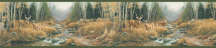 "Echo Lake Lodge Tallulah Steele Creek 15' x 6"" Scenic 3D Embossed Border Wallpaper"