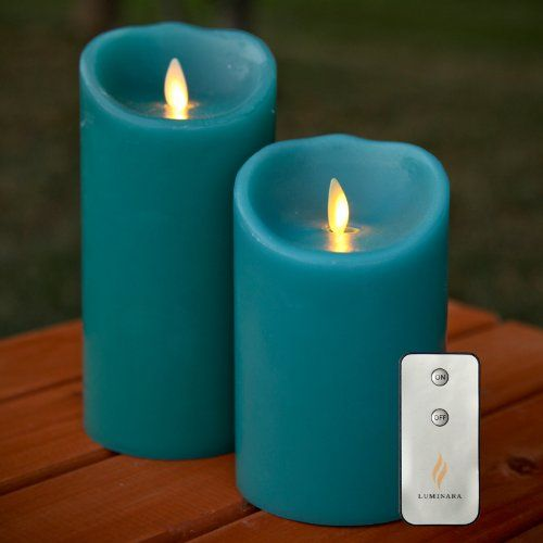 black friday luminara set of 2 moving wick flameless candles with remote sage blue and from luminara cyber monday