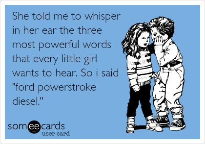 She told me to whisper in her ear the three most powerful words that every little girl wants to hear. So i said 'ford powerstroke diesel.'