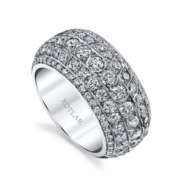 HARRY KOTLAR - Scallop Artisan Pave Band - Five rows of diamonettes gracefully dance in sequence around Harry Kotlar's 18k white gold band. Ideal for the bride-to-be or a daring fashionista.