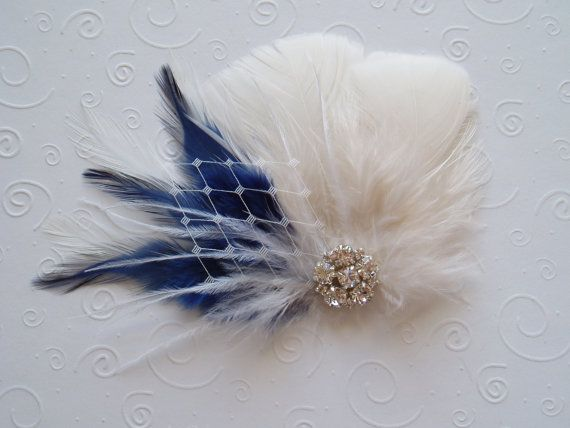 Something Blue Wedding Hair Piece Ivory Feather Fascinator Bridal Hair Clip fall bride comb accessory hairpiece bridesmaid on Etsy, $44.00