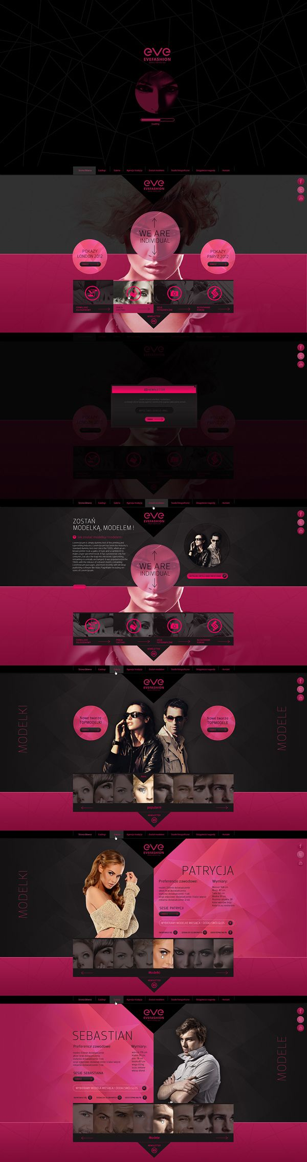 網頁layout,黑粉紅襯色,垂直排列 evefashion by Piotr Miśkiewicz, via Behance