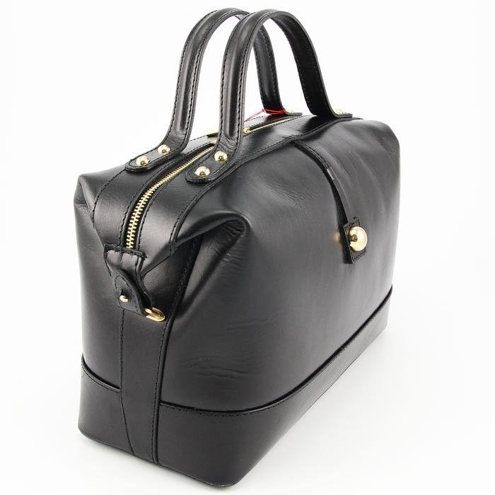 Businesstasche Ledertasche echt Leder Handtasche Italien schwarz Gold
