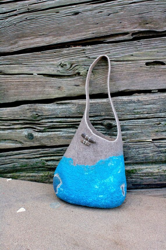 Felted bag sand and water medium size OOAK