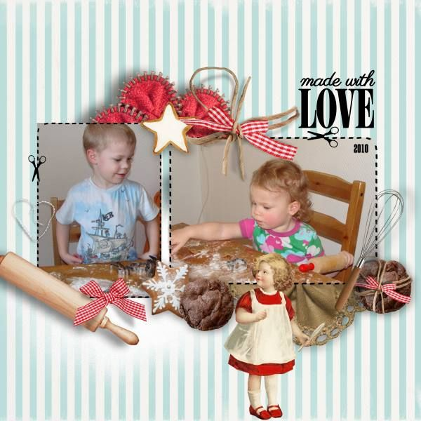 Made with love - I've used Made With Love by Natali Designs at SBG. Photos are of my darling grandkids in 2010 when we did ginger cookies or in swedish pepparkakor.