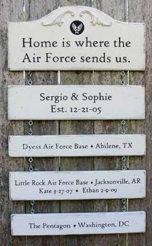 Handmade Custom Wood Signs. MILITARY FAMILY KEEPSAKE Signs.  Include Quote, Family Name, Military Bases, Various Locations.