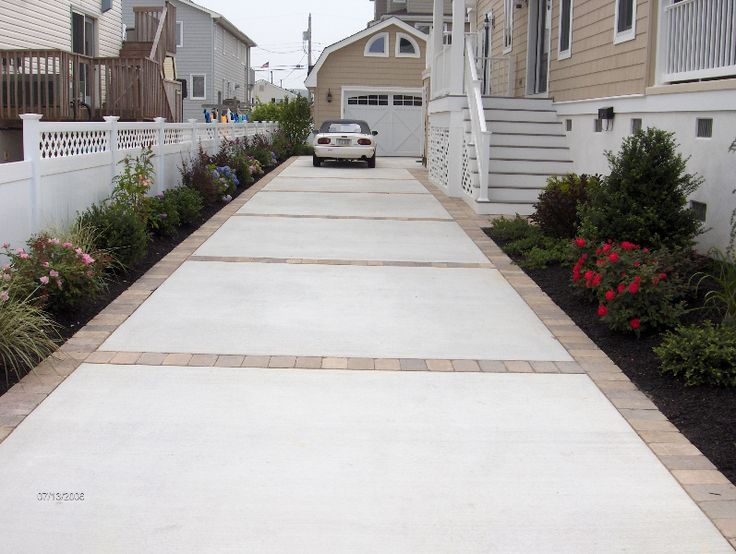 Like Concrete and Paver driveway or concrete with stamped edge instead. Description from pinterest.com. I searched for this on bing.com/images