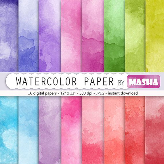 "Watercolor digital paper: ""WATERCOLOR PAPER"" with rainbow watercolor digital paper suitable for scrapbooking, invitations, cardmaking"