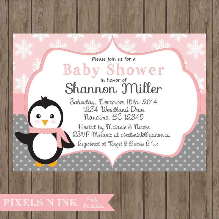 Superb CUSTOMIZABLE PRINTABLE DIY Sweet Little Girl Penguin Baby Shower Invitation    By Pixels N Ink By
