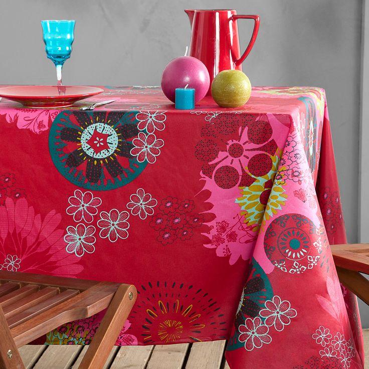 Nappe carrée (155 cm) imprimée Mandala Rouge