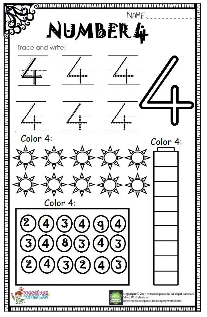 Number 4 Worksheet For Kids Preschoolplanet Worksheets For Kids Numbers Preschool Number Worksheets Kindergarten