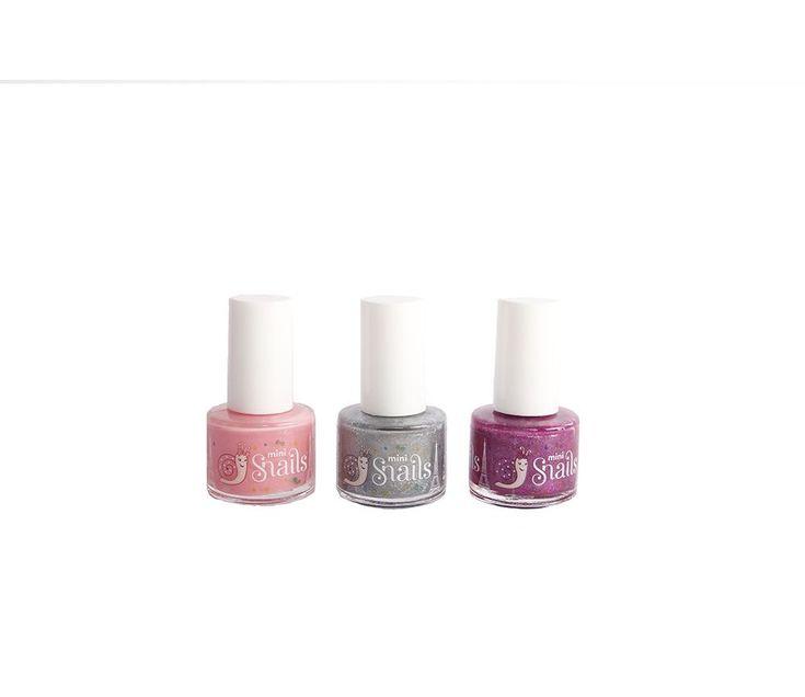 Rosa/glitter/lilla-Sett med 3 neglelakk fra Snails