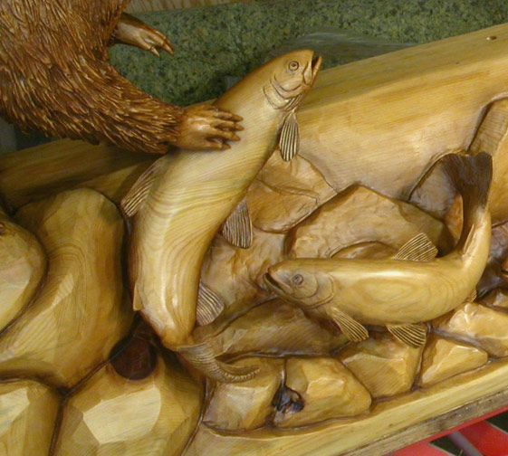 Fish sculpture mantel my trout stream coffee table for Fish wood carving