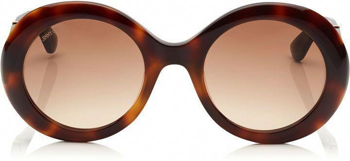 e762eab196c4 Jimmy Choo WENDY Havana Round Sunglasses with Lurex Detailing  JimmyChoo