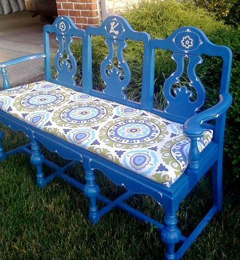 3 dining room chairs repurposed to become a bench..  they say for the garden... I would think done right it would look nice in a foyer