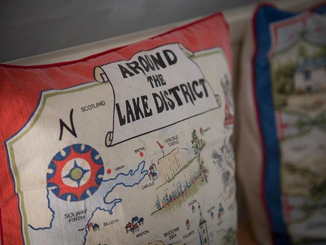 Upcycle! cushion made from tourist tea towel  Crosthwaite House lake district accommodation lyth valley crosthwaite  tiree dawson photography www.tireedawson.co.uk