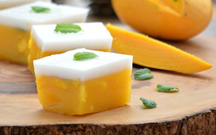 """This vegan mango and coconut dessert is inspired by a Burmese dessert called """"kyauk kyaw"""" — a light and sweet jelly made without the gelatin."""