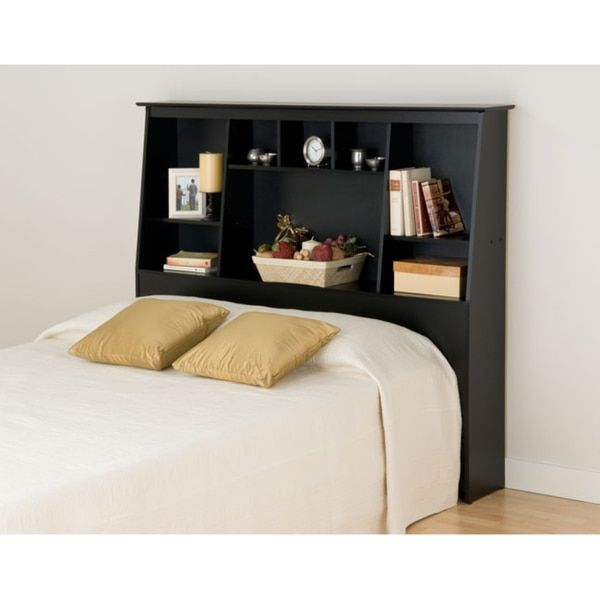 broadway black fullqueen tall slantback bookcase headboard