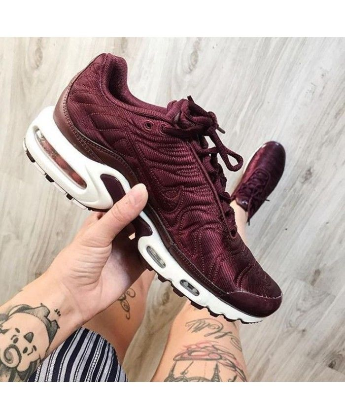 9948525193c Womens Nike Air Max Plus Maroon Burgundy White Shoe