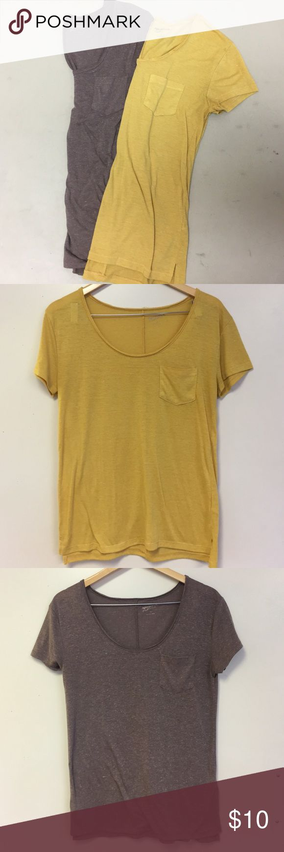 Bundle t-shirts One mustard yellow top and one brown top. Both lightly worn Arizona Jean Company Tops Tees - Short Sleeve