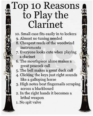 clarinet… the love of my life. I must comment on some: 10: The case may be small, but the lockers are smaller. 7: Some more than others 5: Shouldn&#…