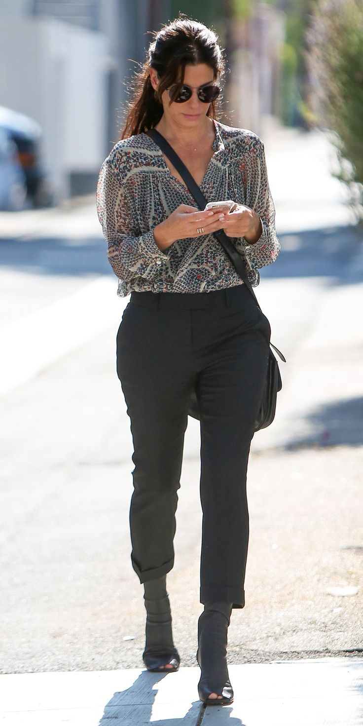 Sandra Bullock Shows Off Her Spring Street Style During a Rare Public Outing from InStyle.com