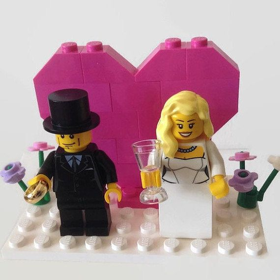 Lego bruidstaart Topper roze hart Gift plezier gemaakt op