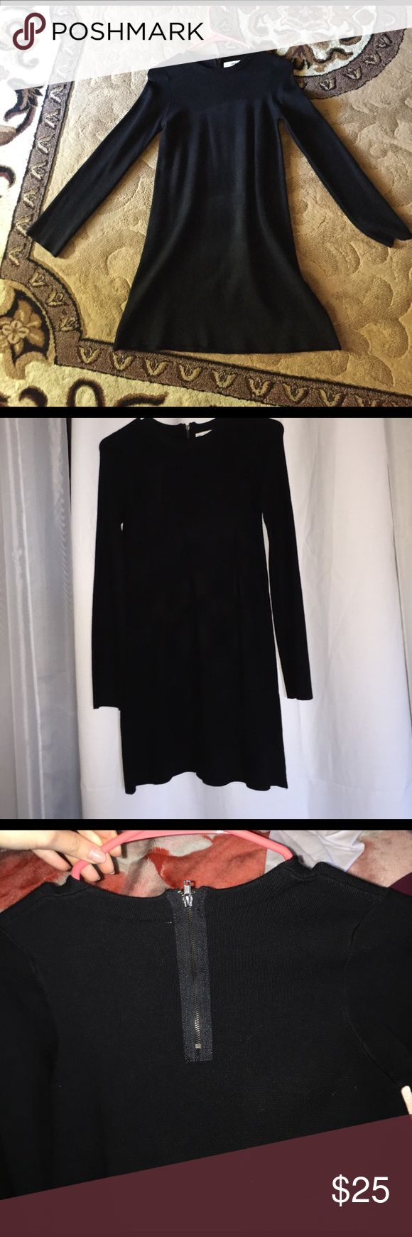 ZARA Black Dress ❤ Brand New Zara black dress from the knitwear collection it has a zipper in the back  ❤ NEW without tags. Zara Dresses Mini