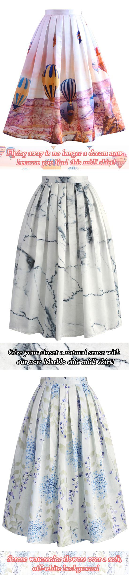 PRINT MIDI SKIRT, marble skirt, balloon skirt, floral skirt  chicwish.com
