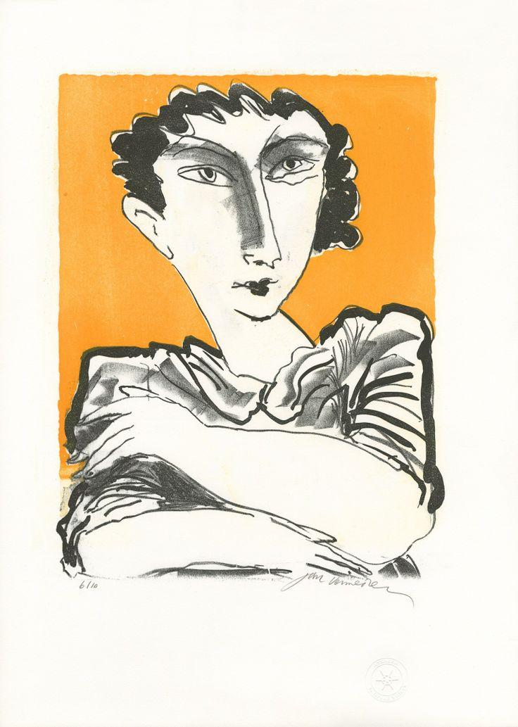 Jan Vermeiren lithograph: Femme Jaune. South African artist