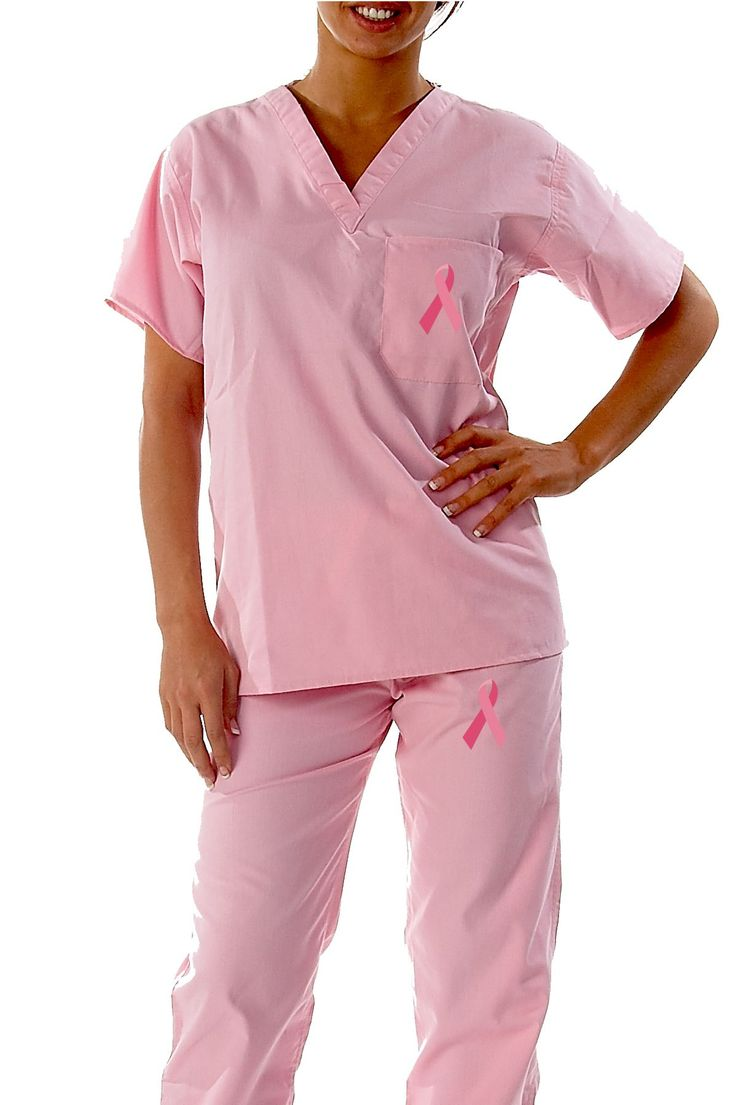 New Pink Ribbon #Breast Cancer Scrub Set by Gelscrubs in pink or white.