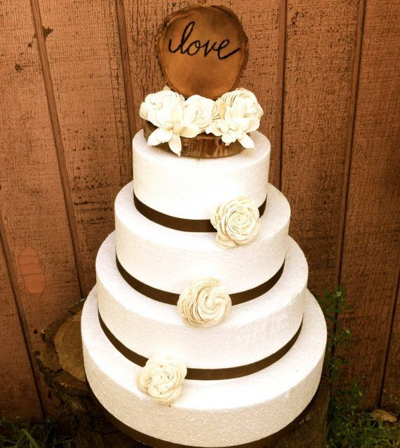 Cute And Chic Rustic Wedding Cake Toppersmaybe With Peach Flowers Babies Breath Burlap Twine Instead Of Ribbon