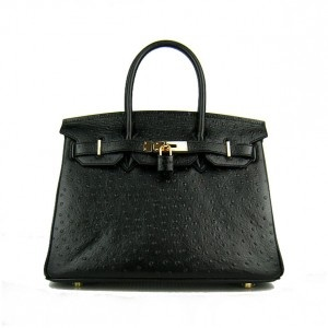 Black Hermes 30CM Birkin Bag Ostrich Leather With Gold HW Color: Black / Gold  Material: Ostrich Leather  Size: W30×H22×D16CM  Package: Hermes dust pouch, padlock, keys and key ornaments  Shipping: Free Price: $259