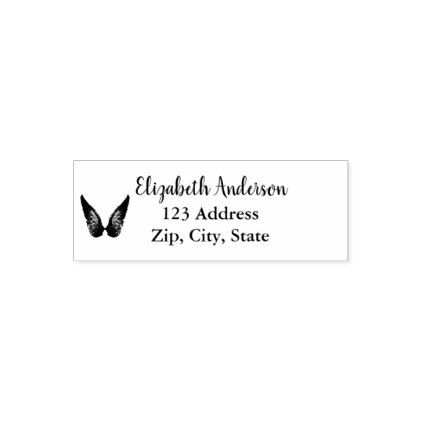 Name and address with angel wings decor self-inking stamp - holidays diy custom design cyo holiday family