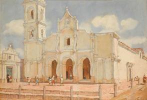 Léonie Matthis - Frente de la Iglesia de San Ignacio. Reparto de velas para las fiestas de San Martín (c. 1925-1935) | Museo Histórico Brigadier General Cornelio de Saavedra