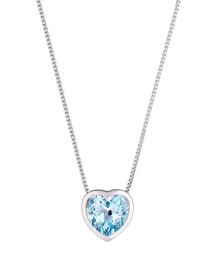 #Necklace #Herz aus 925 Silber mit #Topas blau by #VALERIA - get it now at #VALMANO! #trend #female #fashion #accessoires #jewellery #jewelry #schmuck #halskette #Aquamarine