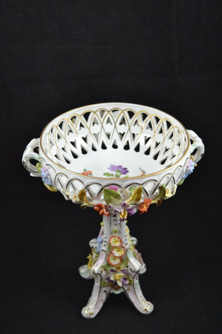 RP: Dresden Germany Footed Capodimonte Reticulated Tall Footed Bowl CARL THIEME | eBay.com                    Have one to sell? Sell it yourself Dresden Germany Footed Capodimonte Reticulated Tall Footed Bo...