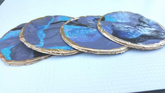 Galaxy Decor Marbled Coasters Opalescent Custom by AmethystMoonCo