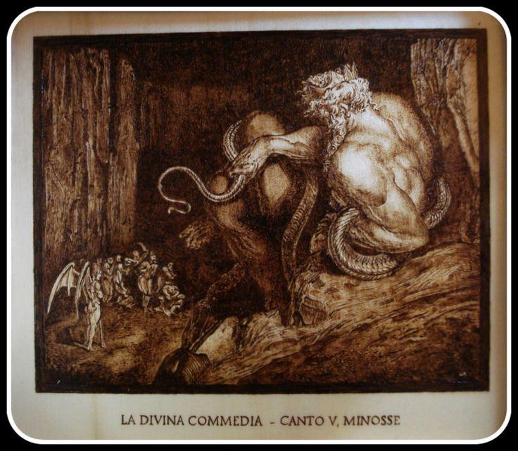 """""""#Minosse"""", #Illustrazione #Inferno di #Dante di Simone Naldini #artigianato #pirografia #DivinaCommedia http://omaventiquaranta.blogspot.it/2013/11/linferno-dantesco-di-simone-naldini.htm"""