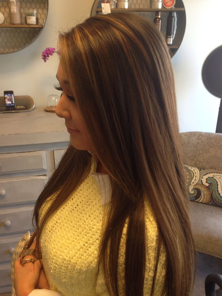 Caramel Highlights On Dark Brown Long Hair Used The