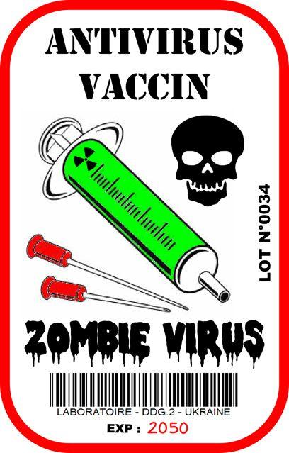 Label Halloween Apothecary Zombie Biohazard  : Antidote vaccin / Antidote virus vaccine  serum skull Printable