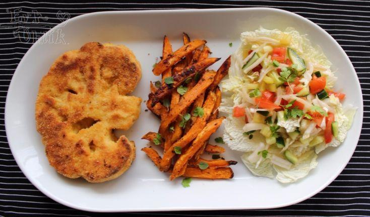 Fotorecept: Karfiolový rezeň a batátové hranolky