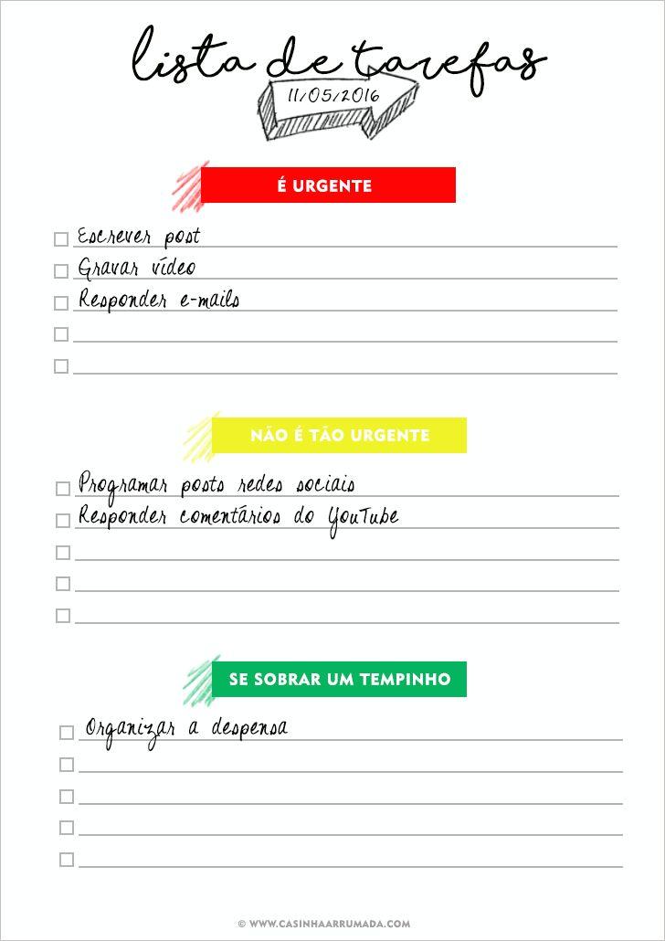 Lista de Tarefas para Imprimir - Casinha Arrumada